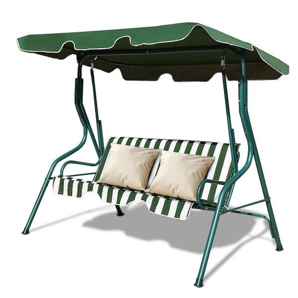 Costway 3 Seats Patio Canopy Swing Glider Hammock Cushioned Steel Frame Backyar Green