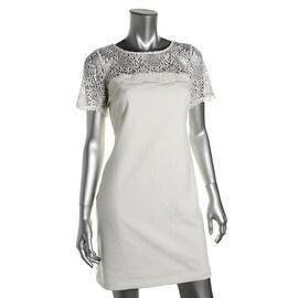 Jessica Simpson Womens Crochet Lace Sheath Wear to Work Dress - 2