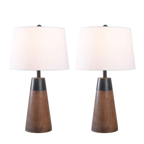 "Palma Black and Dark Wood Grain 2-Pack Accent Lamp - 12"" x 21"""