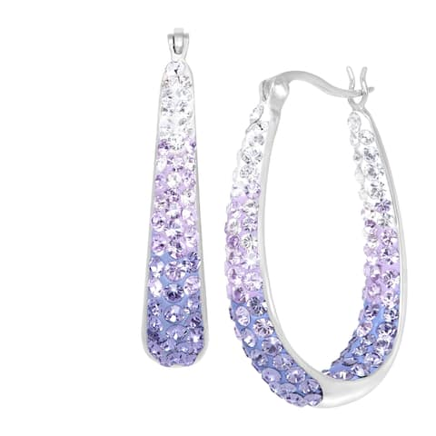 e4b6c09a0 Crystaluxe Oval Hoop Earrings with Lavender Swarovski Crystals in Sterling  Silver with Gold Posts - Purple
