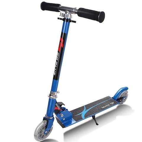Folding Aluminum LED Light Up Wheels Kids Kick Scooter-Blue
