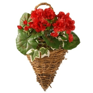 "Red Geranium and Ivy Wall Basket "" 11 Inch"