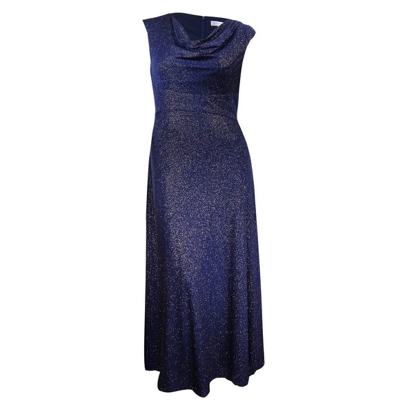 a83b051557 Tahari Women's Cowl-Neck Glitter Gown - Navy/Gold