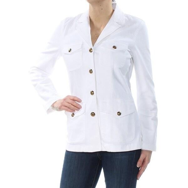 Shop RALPH LAUREN Womens White Notch Lapel Denim Jacket