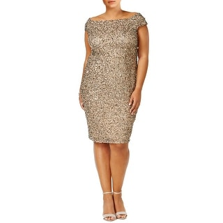 Adrianna Papell Plus Size Off Shoulder Sequin Cocktail Dress - 16W