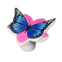 "10"" Blue and Pink Butterfly Swimming Pool Floating Chlorine Dispenser"