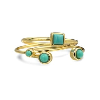Bling Jewelry Reconstituted Synthetic Turquoise Modern Midi Ring Set Gold Plated Silver - Blue