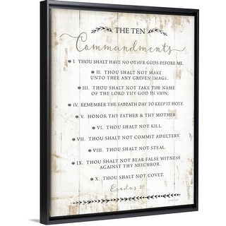 """The Ten Commandments"" Black Float Frame Canvas Art"
