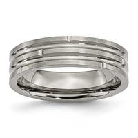 Titanium Notched & Grooved 6mm Satin Band