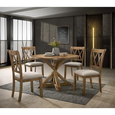 Windvale Cross-Buck Wood 5-Piece Dining Set