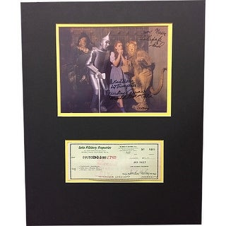 Jack Haley signed Check Wizard Oz 8x10 Photo- 4 sig- Munchkins Mickey Carroll, Jerry Maren, Karl Slover- BAS #A86256