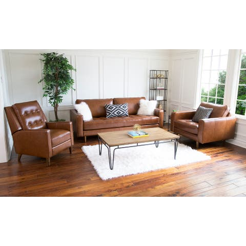 Abbyson Holloway Mid-Century Leather 3-Piece Recliner Set