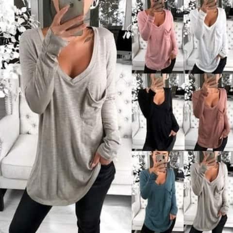 S-4Xl Women V-Neck Long Sleeve T Shirts Tops Plus Size