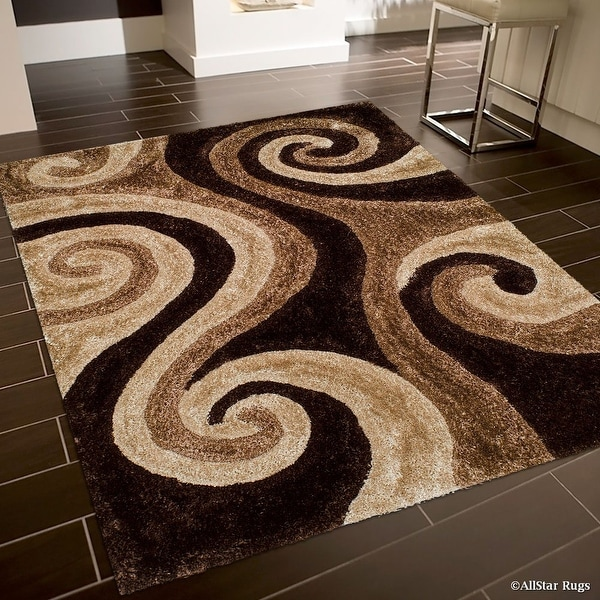AllStar Rugs Coco Shaggy Area Rug with 3D Brown Spiral Design. Contemporary Formal Casual Hand Tufted (5' x 7')