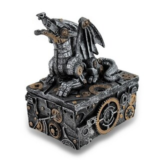 Silver / Gold Enamel Steampunk Dragon Mini Trinket Box - 5 X 4 X 3 inches