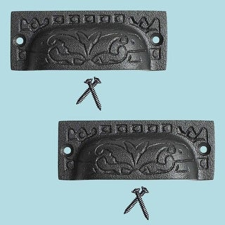 2 Cabinet or Drawer Bin Pull Black Iron Cup 3 1/2 x 1 1/4 H Renovator's Supply