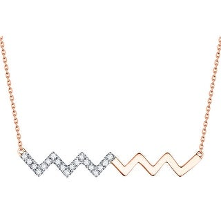 Prism Jewel G-H/SI1 Natural Diamond Indulgence Style Bar Necklace with Chain - White