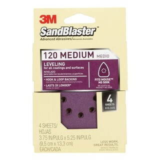 3M 9672 Sandblaster Mouse Sandpaper Sheets, 120 Grit, 4/Card
