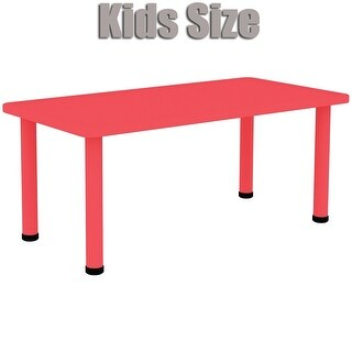 2xhome - Red - Kids Table - Height Adjustable 18.25 inches to 19.25 inches - Rectangle Plastic Activity Table with Metal Legs