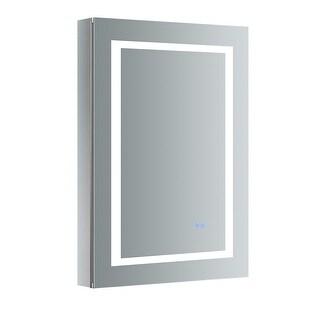 "Fresca FMC022436-L  Luminosa 24"" x 36"" Lighted Frameless Medicine Cabinet with 4 Shelves and Defogger - Left Swing Door - Mirror"