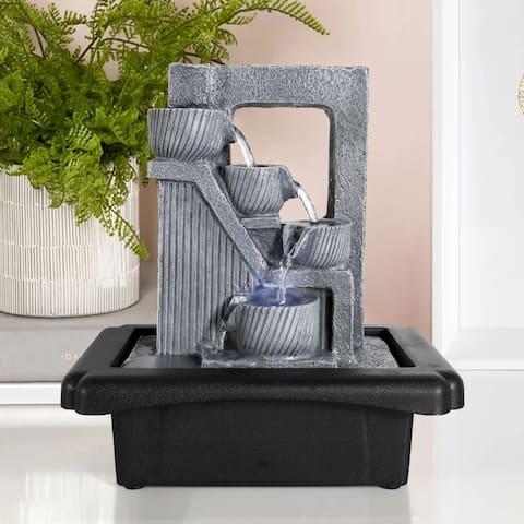 4-Tier Pots Tabletop Water Fountain w/Lights Indoor Waterfall Fountain