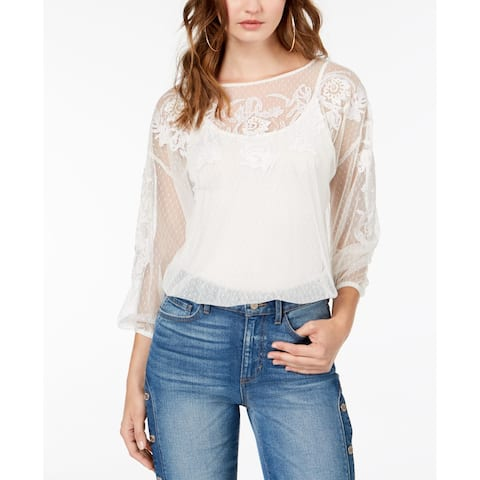 Guess White Women's Size Large L Embroidered Mesh Knit Blouse