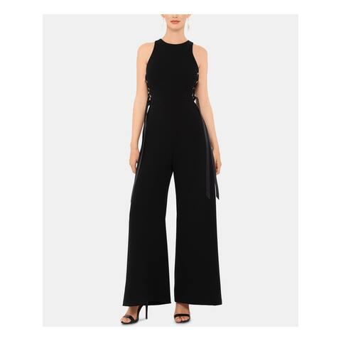 XSCAPE Womens Black Sleeveless Jewel Neck Wide Leg Jumpsuit Size 6