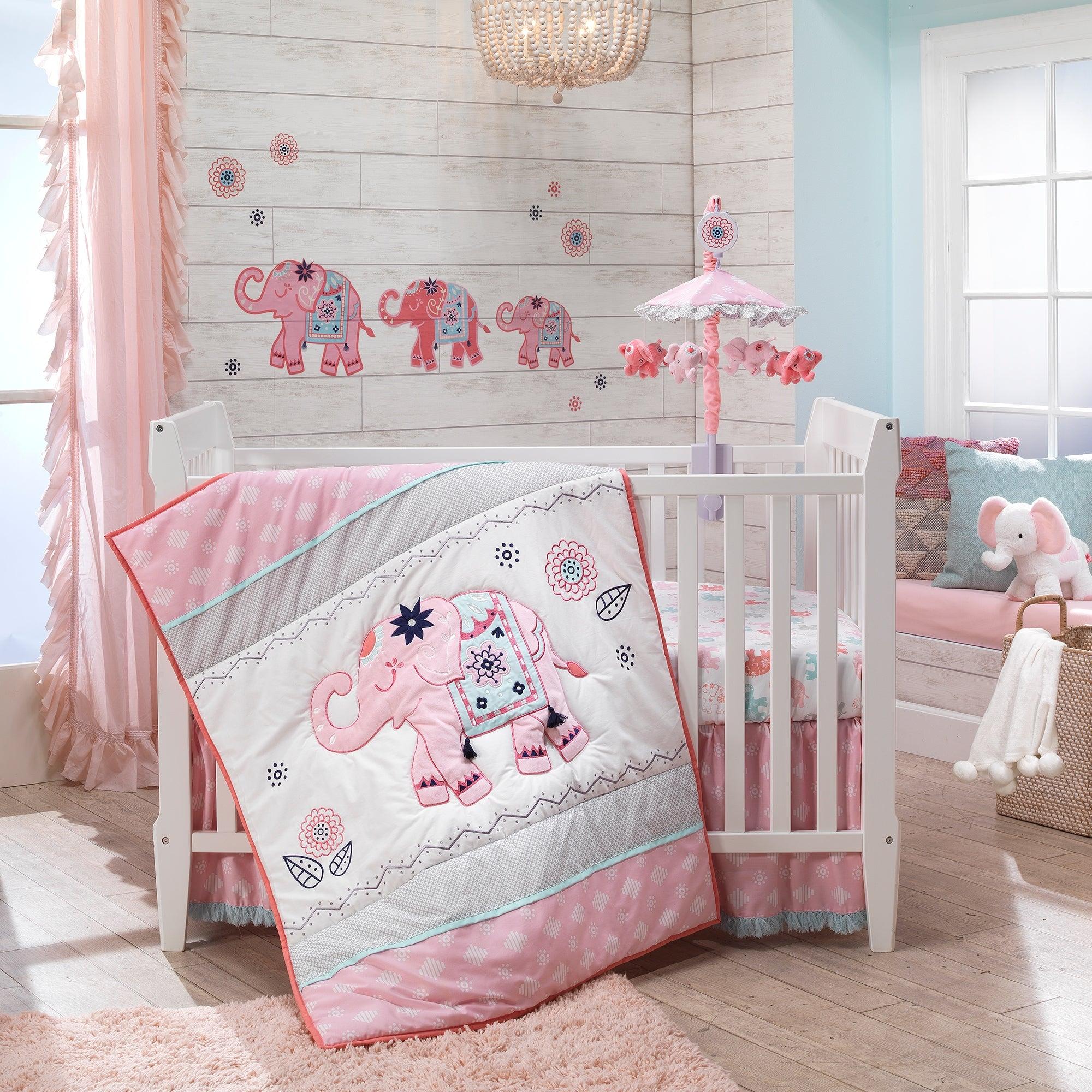 Lambs Ivy Boho Elephant Pink Gray White Nursery 5 Piece Baby Crib Bedding Set