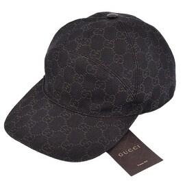 Gucci Men's 328055 Brown Denim Red Green Web GG Guccissima Baseball Hat L