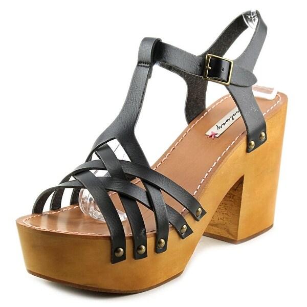 Coolway Chaira Women Open Toe Leather Black Platform Sandal