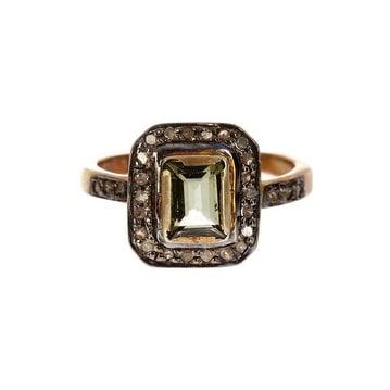 Diamond and Green Tourmaline RING