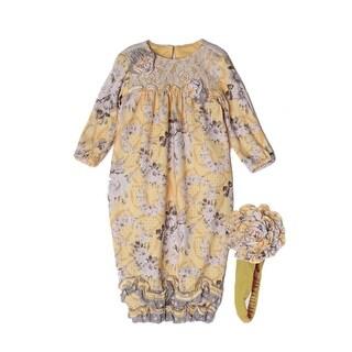 Isobella & Chloe Baby Girls Yellow Buttercup Ruffle Flower Lace Layette Sack