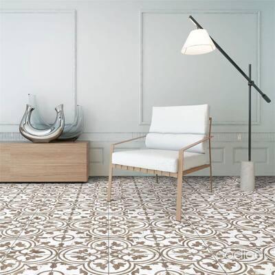"SomerTile Arte Loire Noce 9.75"" x 9.75"" Porcelain Floor and Wall Tile"
