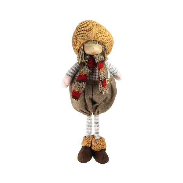 "15"" Standing Autumn Boy Gnome with Scarf and Pumpkin Hat Thanksgiving Figure"