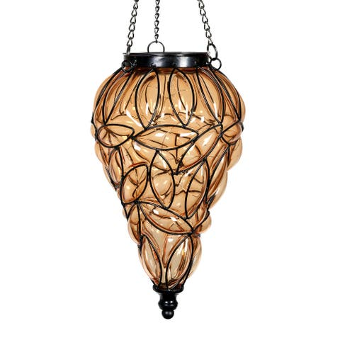 Exhart Solar Tear Shaped Glass and Metal Hanging Lantern with 15 LED Fairy Firefly String Lights, 7 by 24 Inches