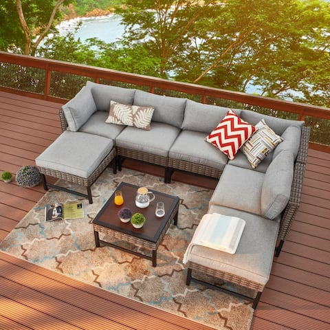Right-Angle 8-Piece Outdoor Conversation Set