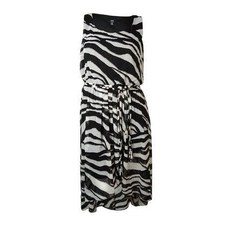 MSK Women's Belted Zebra Print Hi-Low Dress