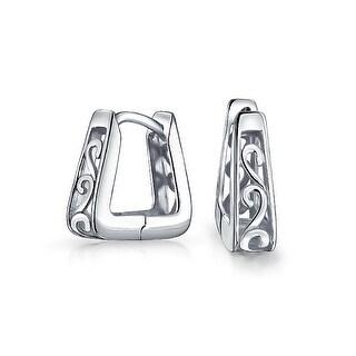 Bling Jewelry Square 925 Silver Modern Filigree Swirl Small Hoop Hoop Earrings