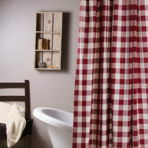 """Cotton Shower Curtain Buffalo Check Red and Buttermilk 72"""" x 72"""""""