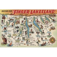 Greetings From Finger Lakes, New York View #1 - Vintage Halftone (Keepsake Tin)