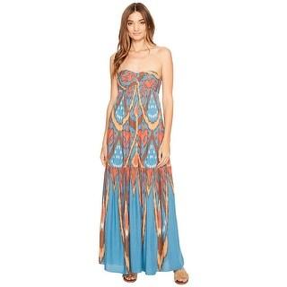 Free People Halter Open Back Midi Dress Blue Combo - l