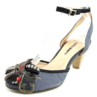 Fausta Moretti Celeste   Peep-Toe Canvas  Slingback Heel