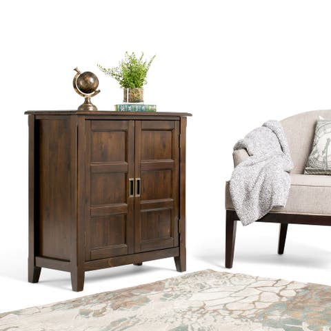 "WYNDENHALL Portland SOLID WOOD 30 inch Wide Traditional Low Storage Cabinet - 30""w x 14""d x 31""h"