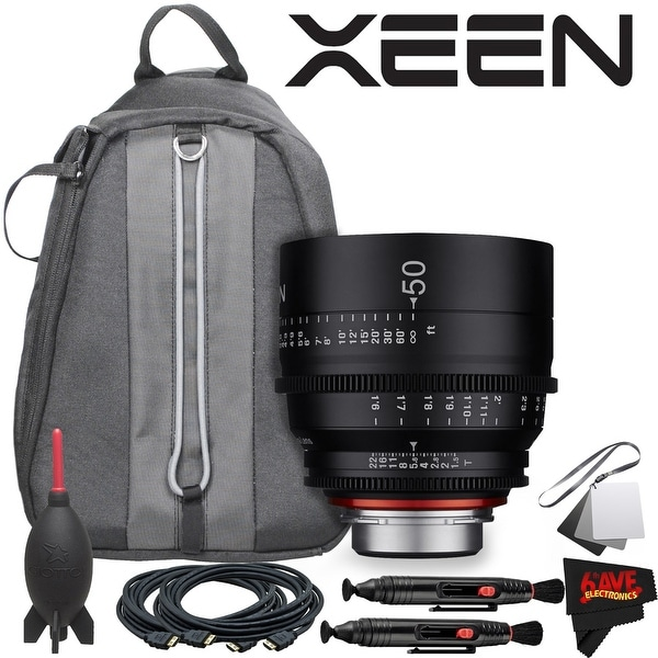 Rokinon Xeen 50mm T1.5 Lens for PL Mount With Professional Lens Backpack and Accessories - black