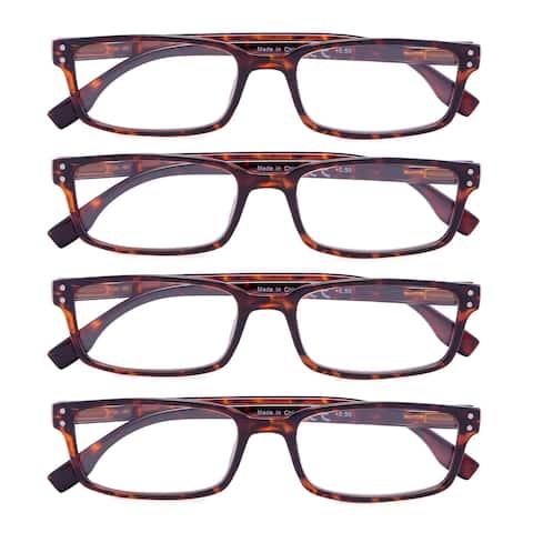Eyekepper Reading Glasses 4 Pack Spring Hinge Comfort Readers Tortoise