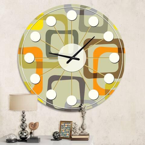 Designart 'Retro Square Design VII' Mid-Century wall clock