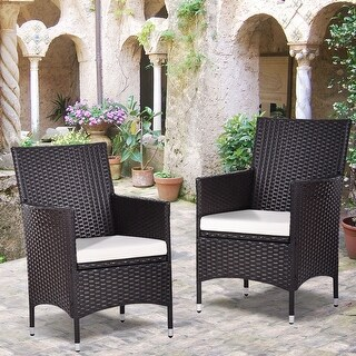 Costway Set Of 2 Patio Chairs Rattan Wicker Dining Arm Seat Cushions Outdoor Indoor