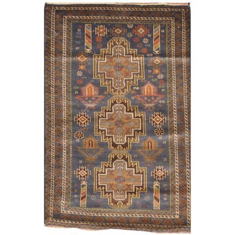 Handmade One-of-a-Kind Tribal Balouchi Wool Rug (Afghanistan) - 2'10 x 4'4