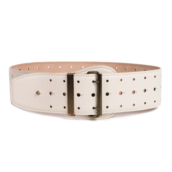 Roberto Cavalli Womens Ivory Leather Wide Waist 3 Holes Belt