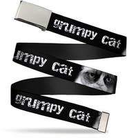 "Blank Chrome 1.0"" Buckle Grumpy Cat W Face Close Up Black White Webbing Web Web Belt 1.0"" Wide - S"